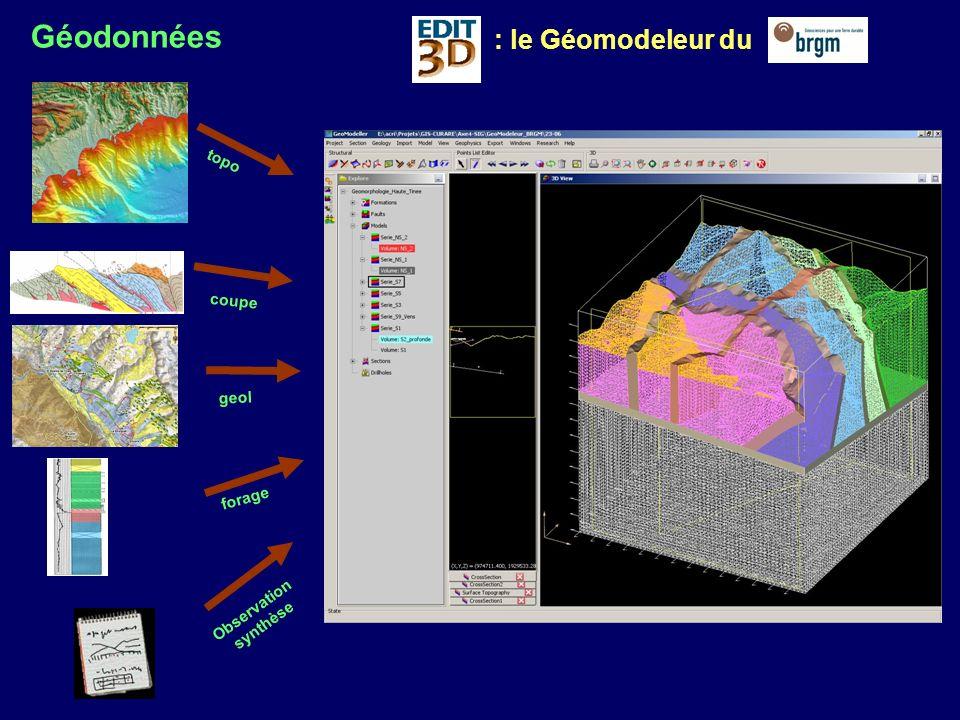 Géodonnées Géomodeleur Géosimulateur Une stratégie globale et évolutive de modélisation Sismogrammes Sources sismiques Description du milieuSimulation