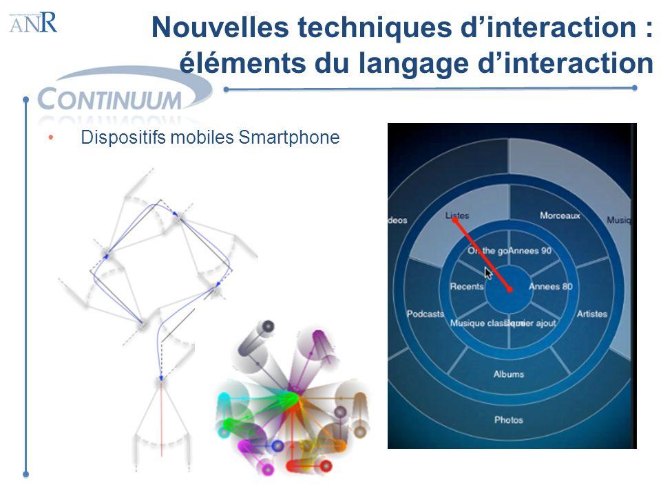 Dispositifs mobiles Smartphone Nouvelles techniques dinteraction : éléments du langage dinteraction