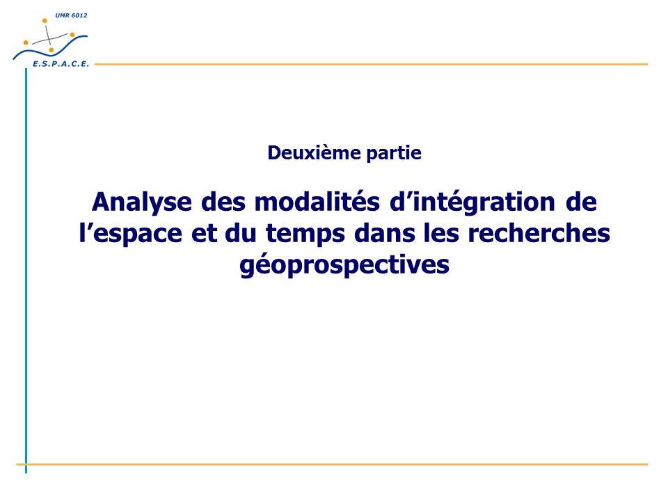 Deuxième partie Analyse des modalités dintégration de lespace et du temps dans les recherches géoprospectives