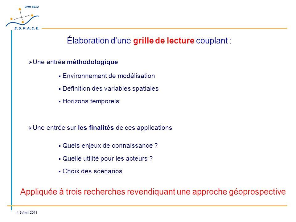4-5 Avril 2011 Élaboration dune grille de lecture couplant : Appliquée à trois recherches revendiquant une approche géoprospective Une entrée méthodol