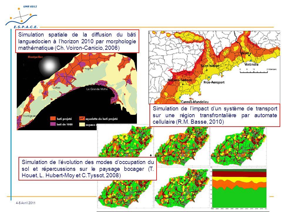 4-5 Avril 2011 Simulation spatiale de la diffusion du bâti languedocien à lhorizon 2010 par morphologie mathématique (Ch. Voiron-Canicio, 2006) Simula