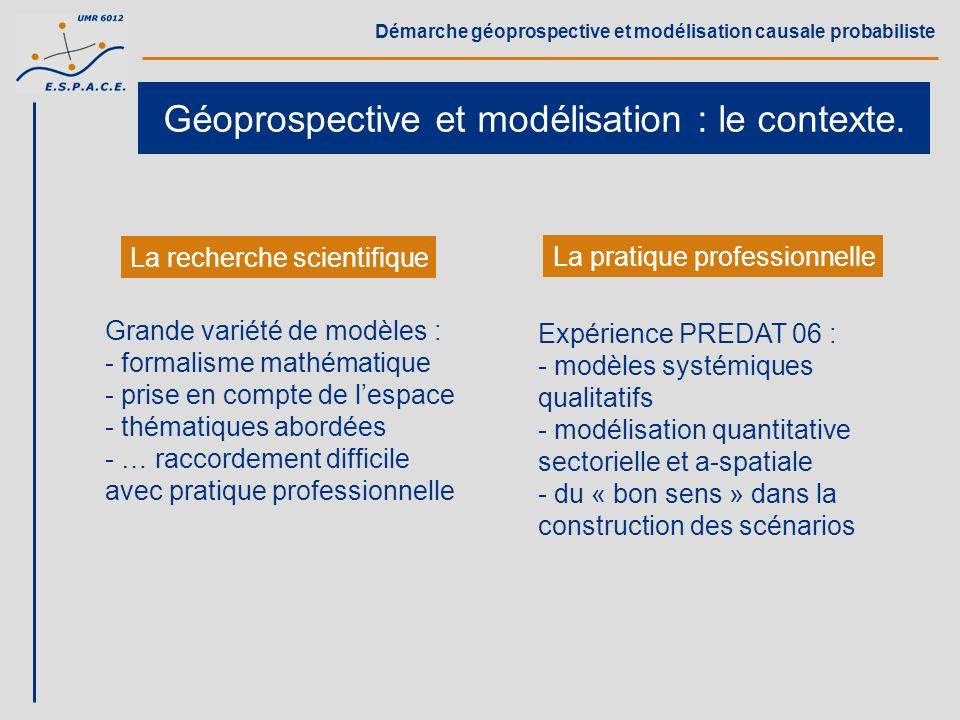 Démarche géoprospective et modélisation causale probabiliste Géoprospective et modélisation : le contexte. La recherche scientifique La pratique profe