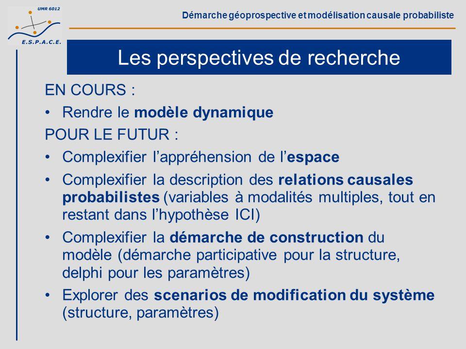 Démarche géoprospective et modélisation causale probabiliste Les perspectives de recherche EN COURS : Rendre le modèle dynamique POUR LE FUTUR : Compl