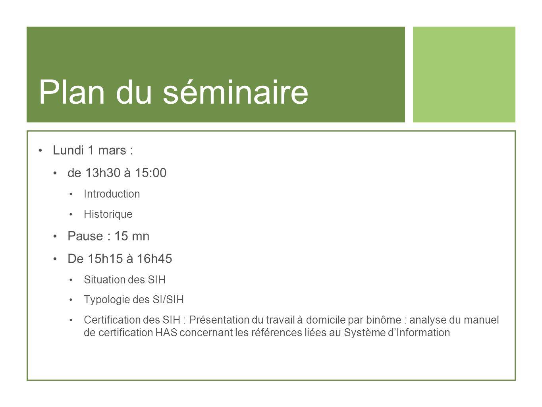 Plan du séminaire Mardi 2 mars matin : de 8h15 à 10h15 Analyse du SI Architecture dun SIH Exemples Pause : 15 mn De 10h30 à 11h30 Restitution du travail personnel certification et SIH