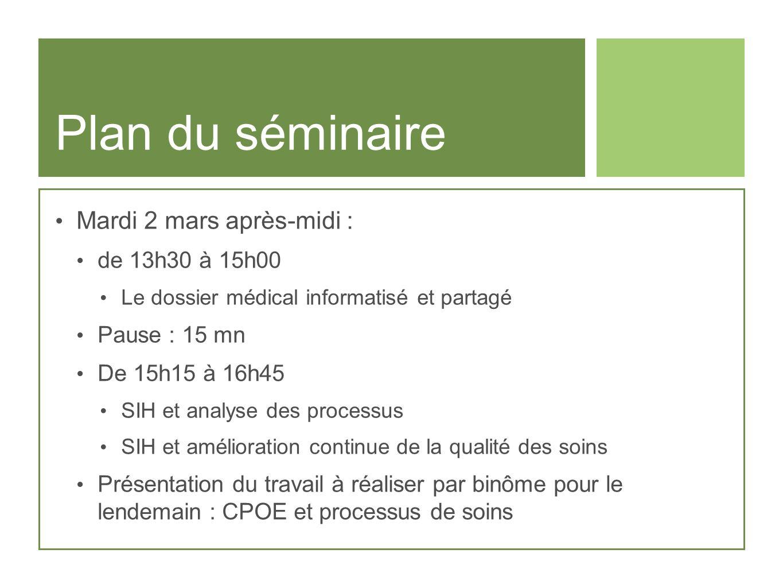 Plan du séminaire Mardi 2 mars après-midi : de 13h30 à 15h00 Le dossier médical informatisé et partagé Pause : 15 mn De 15h15 à 16h45 SIH et analyse d