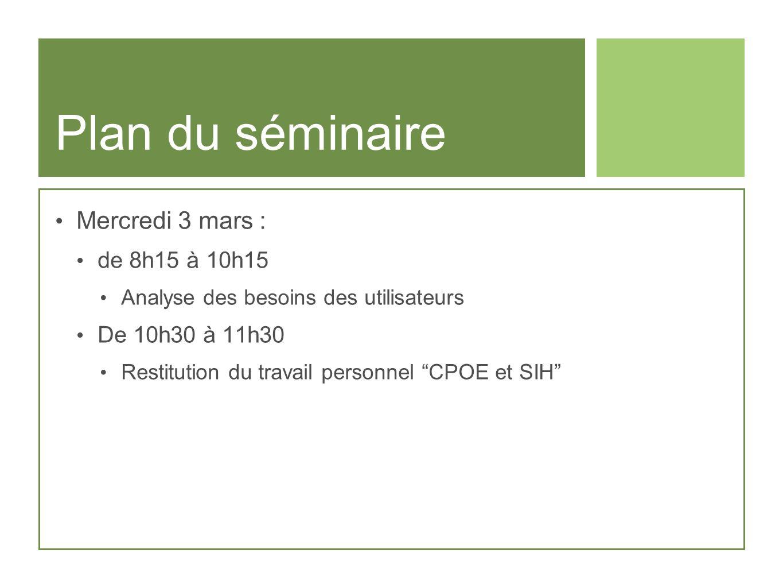 Plan du séminaire Mercredi 3 mars : de 8h15 à 10h15 Analyse des besoins des utilisateurs De 10h30 à 11h30 Restitution du travail personnel CPOE et SIH