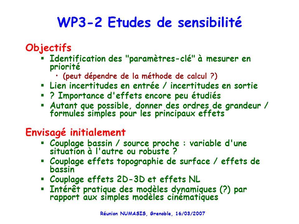Réunion NUMASIS, Grenoble, 16/03/2007 WP3-2 Etudes de sensibilité Objectifs Identification des paramètres-clé à mesurer en priorité (peut dépendre de la méthode de calcul ) Lien incertitudes en entrée / incertitudes en sortie .