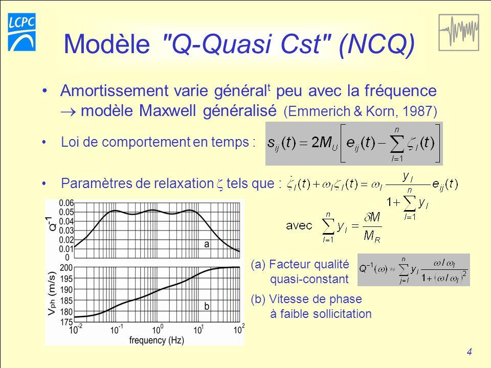 4 Modèle Q-Quasi Cst (NCQ) Amortissement varie général t peu avec la fréquence modèle Maxwell généralisé (Emmerich & Korn, 1987) Loi de comportement en temps : Paramètres de relaxation tels que : (a) Facteur qualité quasi-constant (b) Vitesse de phase à faible sollicitation