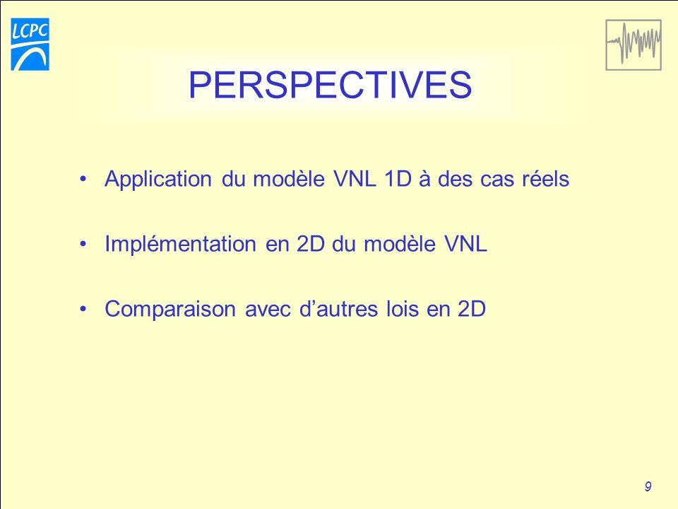9 PERSPECTIVES Application du modèle VNL 1D à des cas réels Implémentation en 2D du modèle VNL Comparaison avec dautres lois en 2D