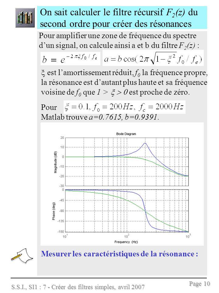 S.S.I., SI1 : 7 - Créer des filtres simples, avril 2007 Page 10 On sait calculer le filtre récursif F 2 (z) du second ordre pour créer des résonances