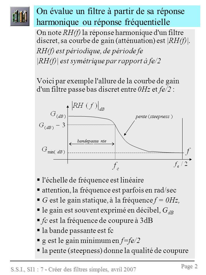 S.S.I., SI1 : 7 - Créer des filtres simples, avril 2007 Page 2 On évalue un filtre à partir de sa réponse harmonique ou réponse fréquentielle On note