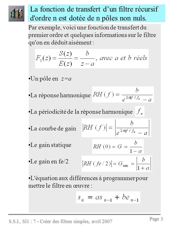 S.S.I., SI1 : 7 - Créer des filtres simples, avril 2007 Page 4 La fonction de transfert dun filtre récursif d ordre 2 possède donc 2 pôles non nuls Par exemple, voici une fonction de transfert du second ordre Que dire sur les pôles .