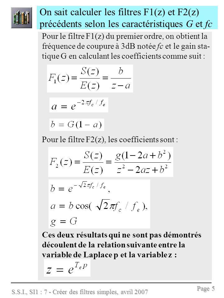 S.S.I., SI1 : 7 - Créer des filtres simples, avril 2007 Page 6 Pour évaluer les performances dun filtre on dispose des fonctions suivantes de Matlab : On crée le filtre avec linstruction tf : ftz=tf(0.1,[1,–0.9],1/8000) %ftz=tf(num,den,Te) On calcule la réponse impulsionnelle de ftz : [hn,t]=impulse(ftz); % puis plot(t,hn)% pour le tracé, ou impulse(ftz) la réponse indicielle (à une entrée échelon) : [ind,t]=step(ftz); % ou simplement step(ftz) % pour tracer la réponse harmonique (ou fréquentielle): bode(ftz) % attention .