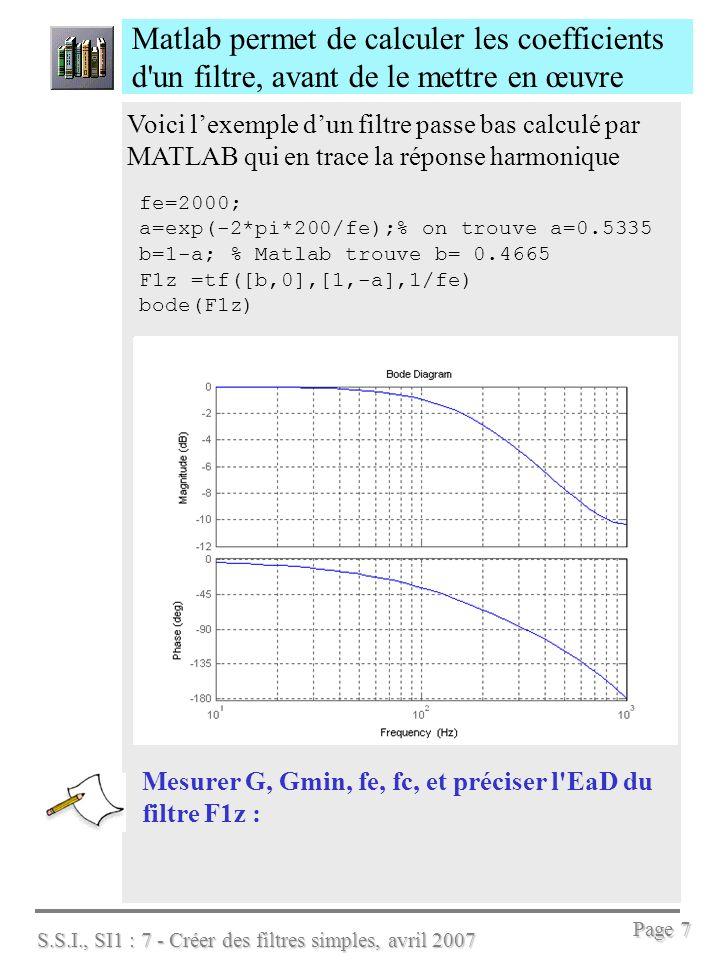 S.S.I., SI1 : 7 - Créer des filtres simples, avril 2007 Page 7 Matlab permet de calculer les coefficients d'un filtre, avant de le mettre en œuvre Voi