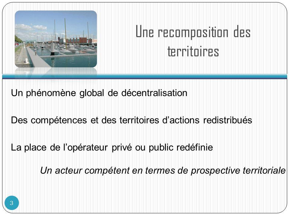 Une recomposition des territoires 3 Un phénomène global de décentralisation Des compétences et des territoires dactions redistribués La place de lopér