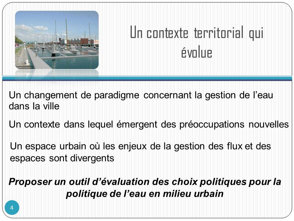 Un contexte territorial qui évolue 4 Proposer un outil dévaluation des choix politiques pour la politique de leau en milieu urbain Un changement de pa