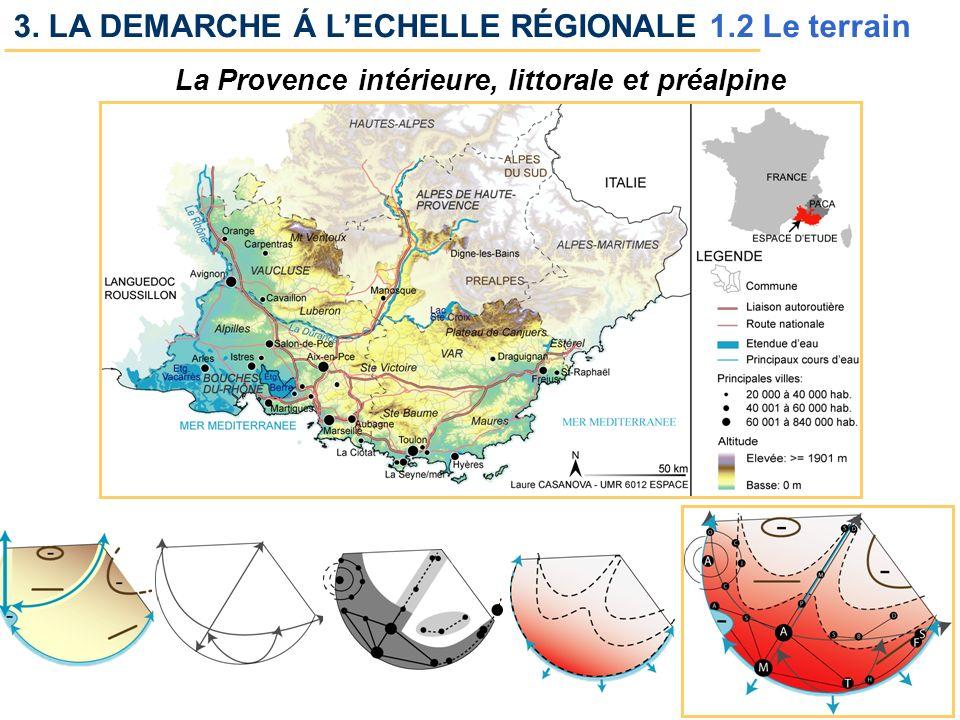 U.M.R. 6012 ESPACE 11 /14 3. LA DEMARCHE Á LECHELLE RÉGIONALE 1.2 Le terrain La Provence intérieure, littorale et préalpine