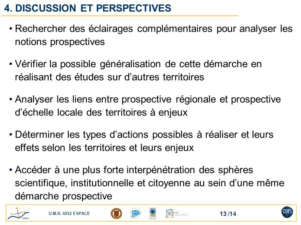 U.M.R. 6012 ESPACE 13 /14 Rechercher des éclairages complémentaires pour analyser les notions prospectives Vérifier la possible généralisation de cett