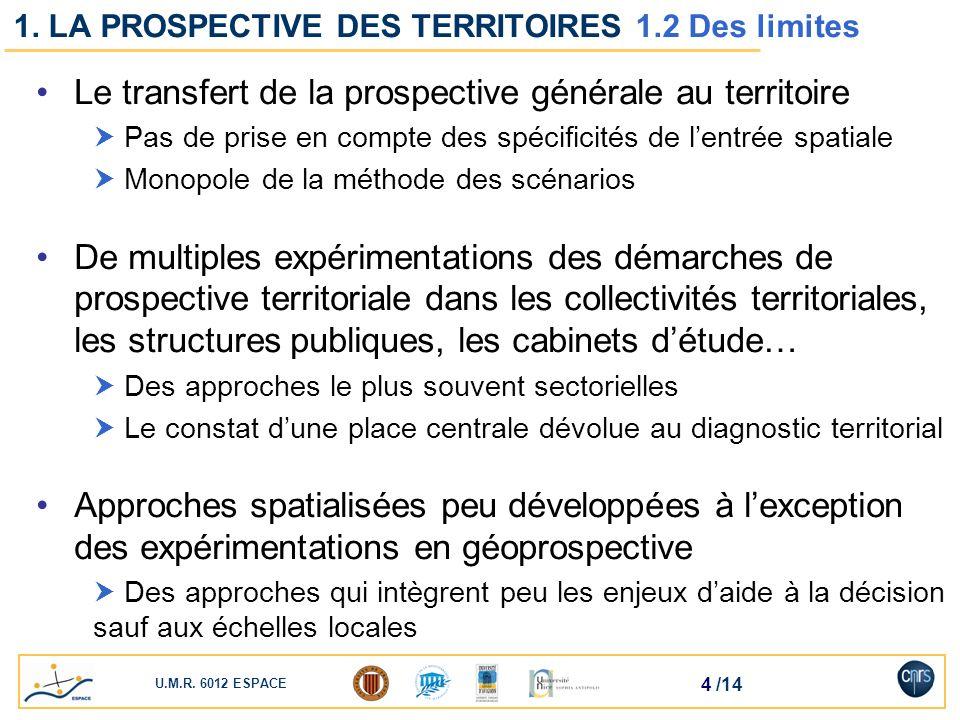 U.M.R. 6012 ESPACE 4 /14 1. LA PROSPECTIVE DES TERRITOIRES 1.2 Des limites Le transfert de la prospective générale au territoire Pas de prise en compt