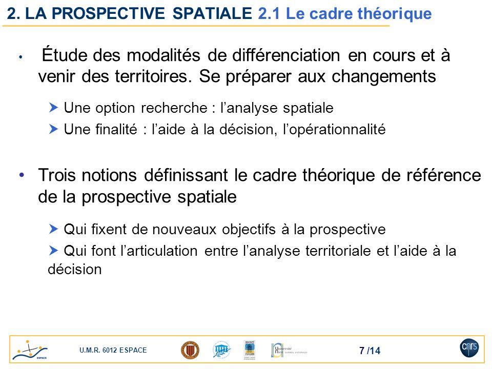 U.M.R. 6012 ESPACE 7 /14 2. LA PROSPECTIVE SPATIALE 2.1 Le cadre théorique Étude des modalités de différenciation en cours et à venir des territoires.