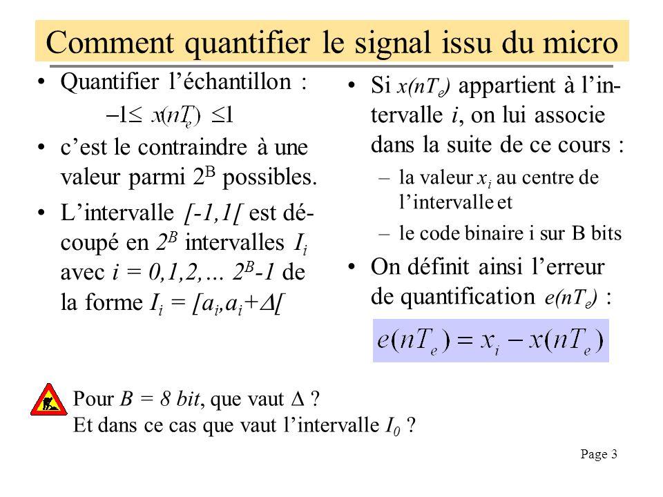 Page 13 Tracé avec Matlab de y =Q[x] (ici =2 8 -1) function ymu=mulaw(x) mu=255; N=1+mu; ymu=sign(x).*log(1+mu*abs(x))/log(N); % puis dans linterpréteur Matlab x=[-1:0.01:1]; plot(x,mulaw(x)) function [y]=invmulaw(xmu) mu=255; N=1+mu; y=sign(xmu).*(exp(log(N)*abs(xmu))-1)/mu; function yn=numerise(y,b) % code y sur b bit, retour dans yd % y est supposé varier entre -1 et 1 N=2^b; yn=(1+2*fix((y+1)*N/2))/N - 1; yn(length(yn))=yn(length(yn)-1);