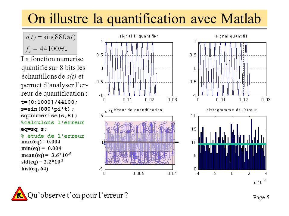 Page 5 On illustre la quantification avec Matlab max(eq) = 0.004 min(eq) = -0.004 mean(eq) = -3.6*10 -5 std(eq) = 2.2*10 -3 hist(eq, 64) La fonction numerise quantifie sur 8 bits les échantillons de s(t) et permet danalyser ler- reur de quantification : t=[0:1000]/44100; s=sin(880*pi*t); sq=numerise(s,8); %calculons l erreur eq=sq-s; % étude de l erreur Quobserve ton pour lerreur ?