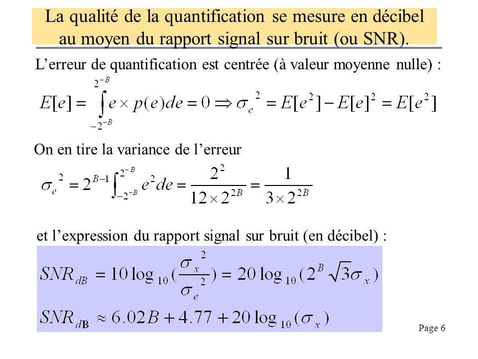 Page 16 Comment on utilise law pour compresser [x,fs,b]=wavread( ../Sons/piano_c3.wav ); xdiv8=x/8; % on divise le signal par 8 pour dégrader SNR x8=numerise(xdiv8,8); % on numérise sur 8 bit % numérise est une fonction à écrire par ailleurs % compression : on applique la loi mu y=sign(xdiv8).*log(1+255*abs(xdiv8))/log(256); y8=numerise(y,8); % décompression : on applique la loi mu inverse xrec=sign(y).*(256.^abs(y8)-1)/255; sound([8*x8;8*xrec],fs) % on joue les deux sons piano_c3 8 bit 8 bit 1/8 Comparer x8 et y8 et évaluer le taux de compression
