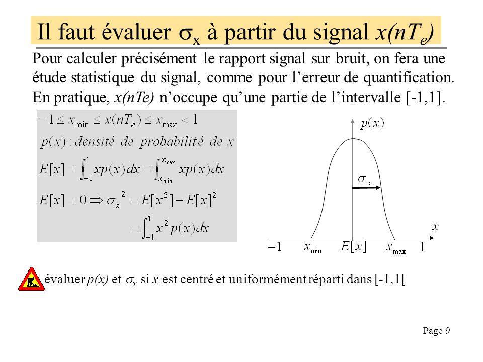 Page 9 Il faut évaluer x à partir du signal x(nT e ) Pour calculer précisément le rapport signal sur bruit, on fera une étude statistique du signal, comme pour lerreur de quantification.