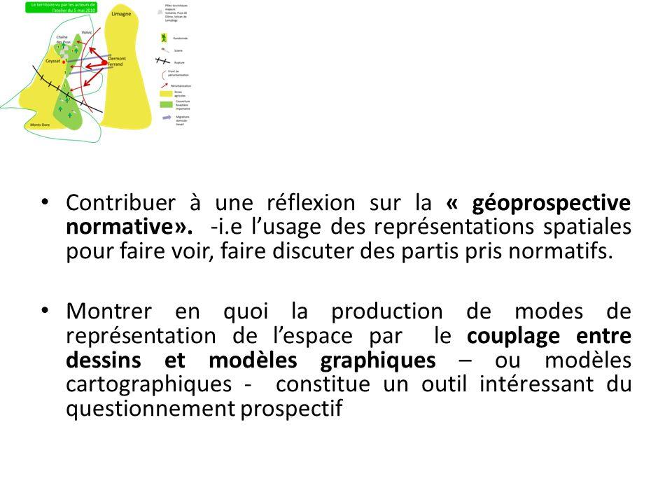Contribuer à une réflexion sur la « géoprospective normative». -i.e lusage des représentations spatiales pour faire voir, faire discuter des partis pr