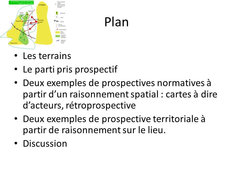 Plan Les terrains Le parti pris prospectif Deux exemples de prospectives normatives à partir dun raisonnement spatial : cartes à dire dacteurs, rétrop