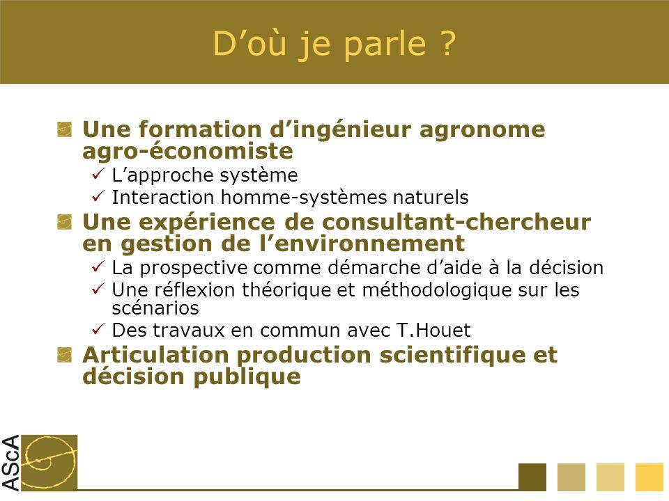 Doù je parle ? Une formation dingénieur agronome agro-économiste Lapproche système Interaction homme-systèmes naturels Une expérience de consultant-ch