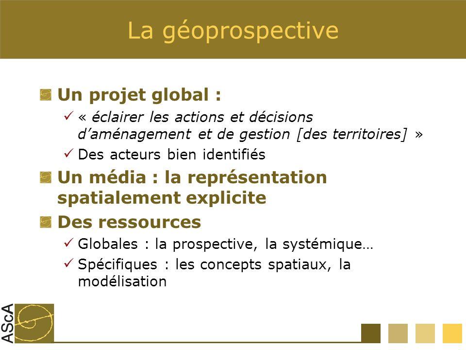 La géoprospective Un projet global : « éclairer les actions et décisions daménagement et de gestion [des territoires] » Des acteurs bien identifiés Un média : la représentation spatialement explicite Des ressources Globales : la prospective, la systémique… Spécifiques : les concepts spatiaux, la modélisation