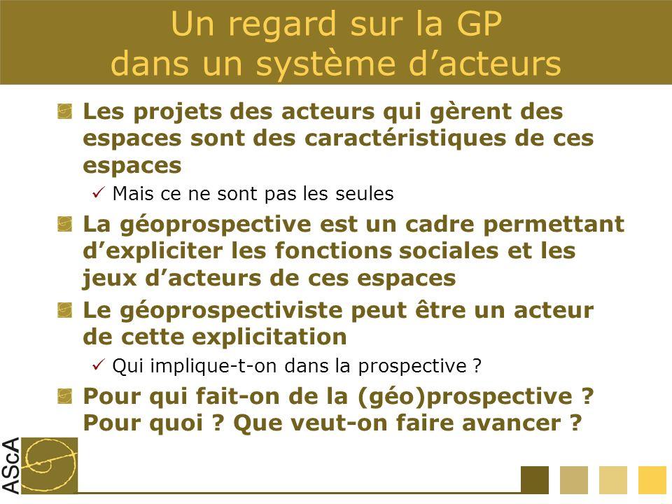 Un regard sur la GP dans un système dacteurs Les projets des acteurs qui gèrent des espaces sont des caractéristiques de ces espaces Mais ce ne sont p