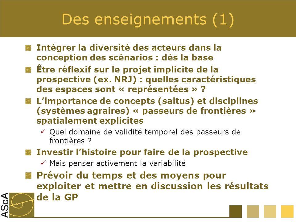 Des enseignements (1) Intégrer la diversité des acteurs dans la conception des scénarios : dès la base Être réflexif sur le projet implicite de la pro