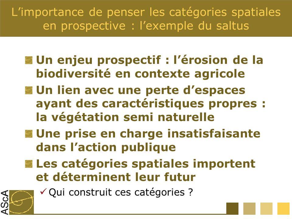 Limportance de penser les catégories spatiales en prospective : lexemple du saltus Un enjeu prospectif : lérosion de la biodiversité en contexte agric