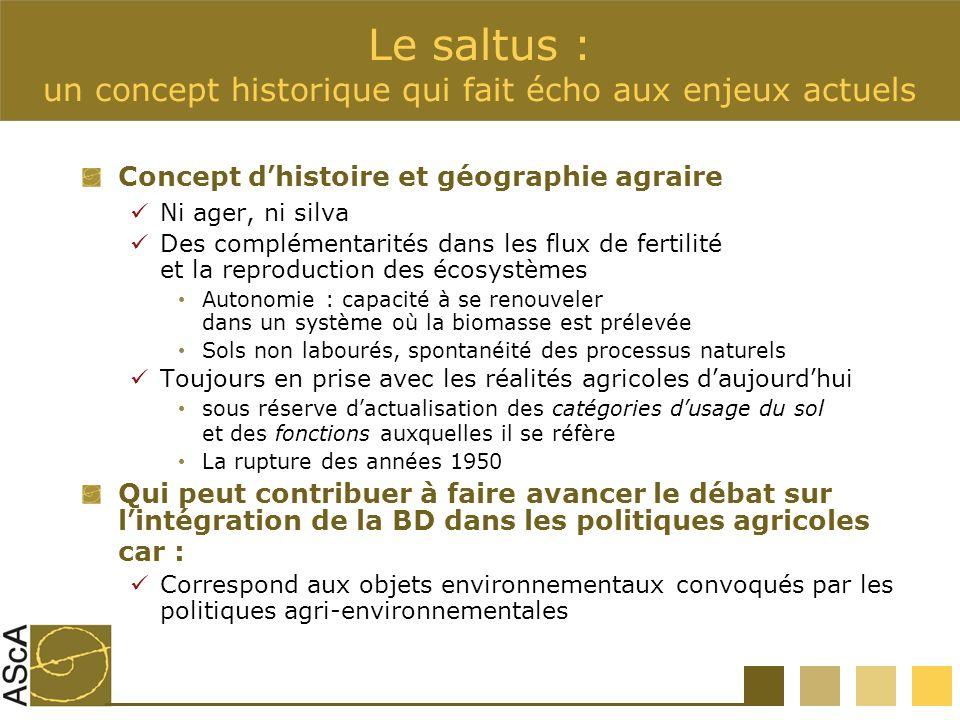 Le saltus : un concept historique qui fait écho aux enjeux actuels Concept dhistoire et géographie agraire Ni ager, ni silva Des complémentarités dans