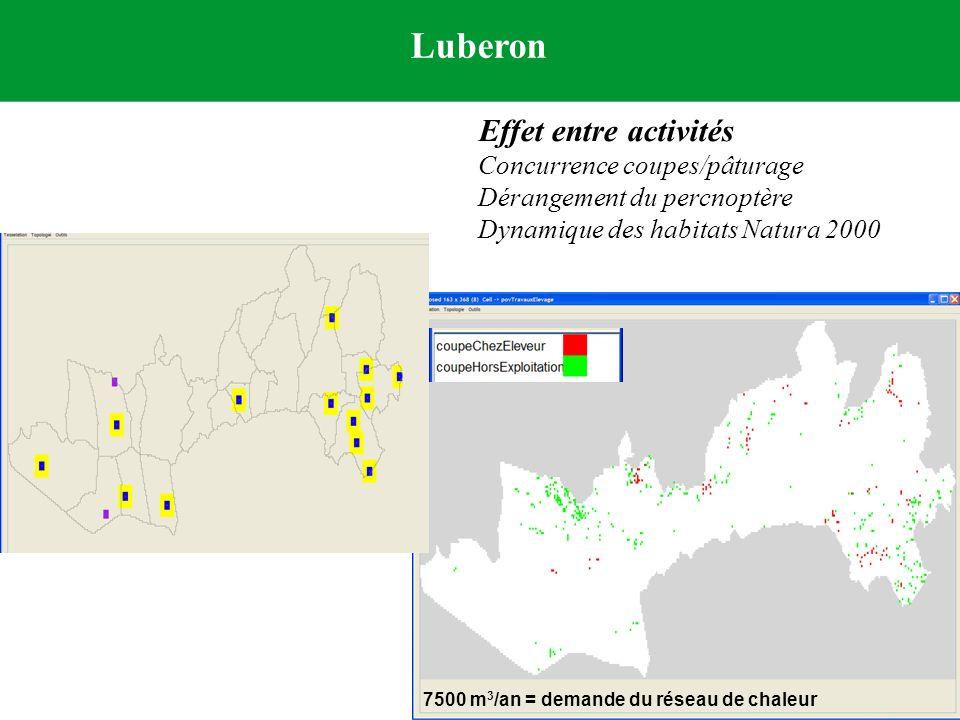 Luberon Effet entre activités Concurrence coupes/pâturage Dérangement du percnoptère Dynamique des habitats Natura 2000 7500 m 3 /an = demande du rése