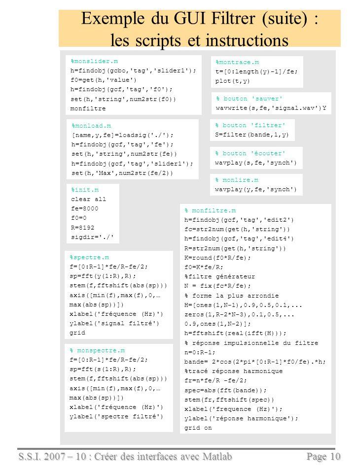 S.S.I. 2007 – 10 : Créer des interfaces avec Matlab Page 10 Exemple du GUI Filtrer (suite) : les scripts et instructions %monload.m [name,y,fe]=loadsi
