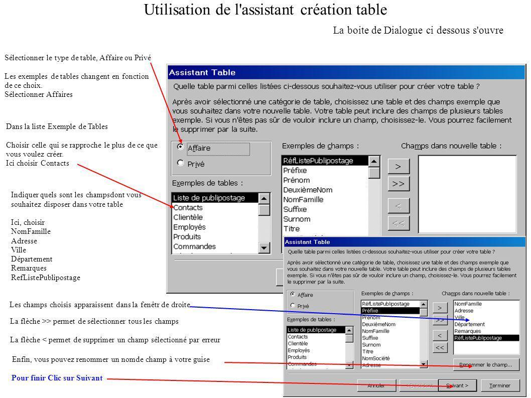 Utilisation de l assistant création table La boite de Dialogue ci dessous s ouvre Sélectionner le type de table, Affaire ou Privé Les exemples de tables changent en fonction de ce choix.