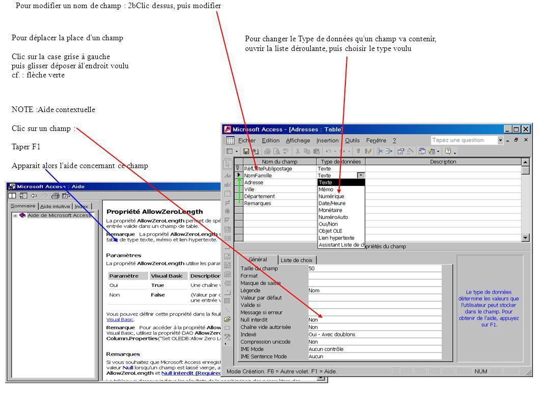 Pour modifier un nom de champ : 2bClic dessus, puis modifier Pour changer le Type de données qu un champ va contenir, ouvrir la liste déroulante, puis choisir le type voulu Pour déplacer la place d un champ Clic sur la case grise à gauche puis glisser déposer àl endroit voulu cf.