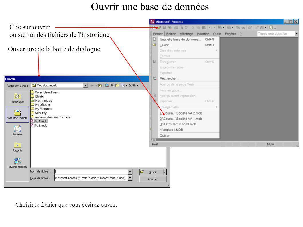 Ouvrir une base de données Clic sur ouvrir ou sur un des fichiers de l historique Ouverture de la boite de dialogue Choisir le fichier que vous désirez ouvrir.