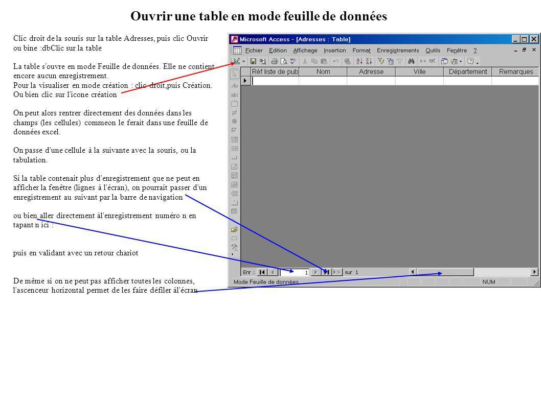 Ouvrir une table en mode feuille de données Clic droit de la souris sur la table Adresses, puis clic Ouvrir ou bine :dbClic sur la table La table s ouvre en mode Feuille de données.