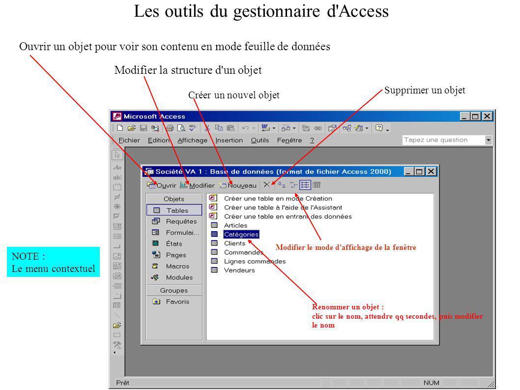 Ouvrir un objet pour voir son contenu en mode feuille de données Modifier la structure d un objet Créer un nouvel objet Modifier le mode d affichage de la fenêtre Supprimer un objet Renommer un objet : clic sur le nom, attendre qq secondes, puis modifier le nom Les outils du gestionnaire d Access NOTE : Le menu contextuel