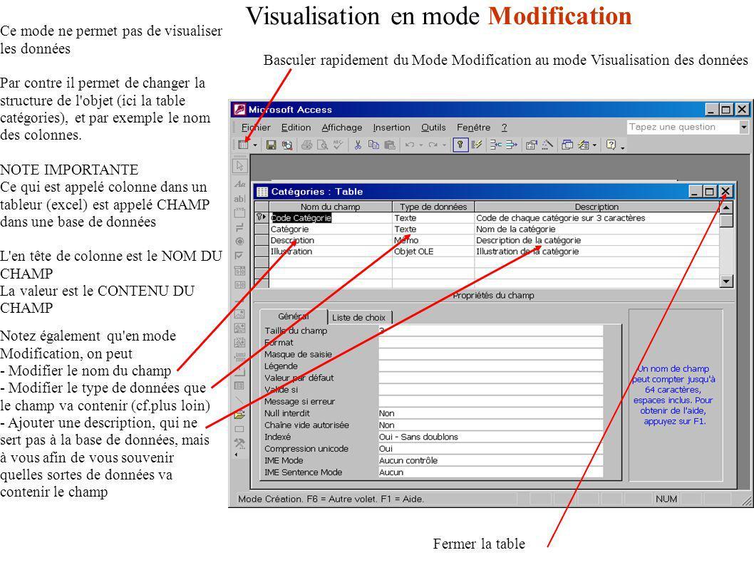 Visualisation en mode Modification Basculer rapidement du Mode Modification au mode Visualisation des données Ce mode ne permet pas de visualiser les données Par contre il permet de changer la structure de l objet (ici la table catégories), et par exemple le nom des colonnes.