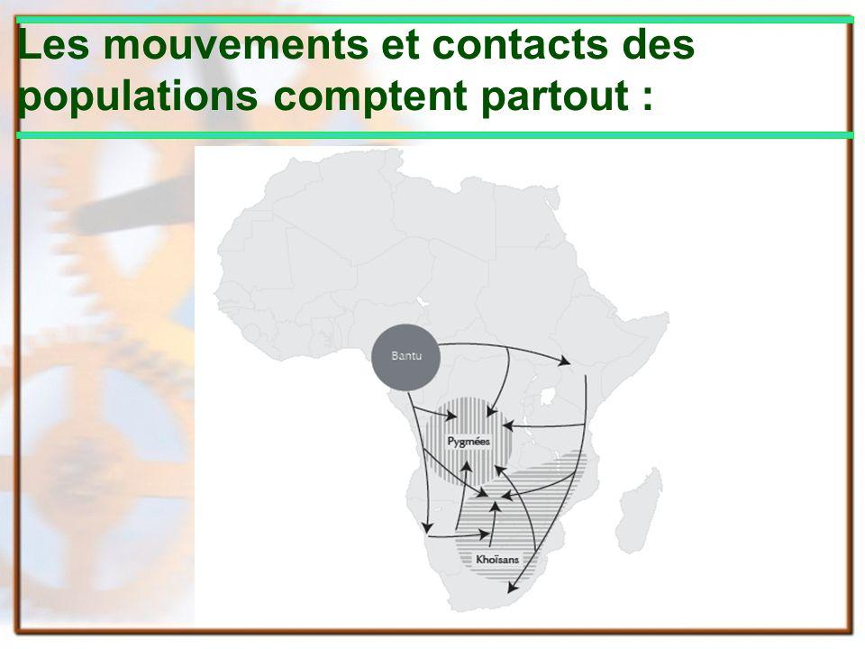 Les mouvements et contacts des populations comptent partout :