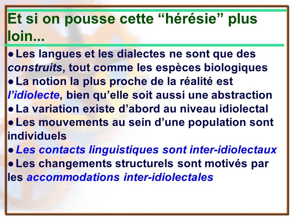 Et si on pousse cette hérésie plus loin... Les langues et les dialectes ne sont que des construits, tout comme les espèces biologiques La notion la pl