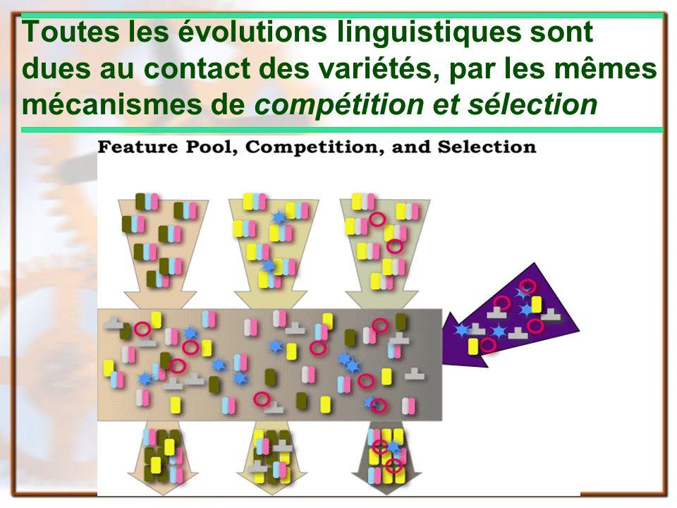 Toutes les évolutions linguistiques sont dues au contact des variétés, par les mêmes mécanismes de compétition et sélection