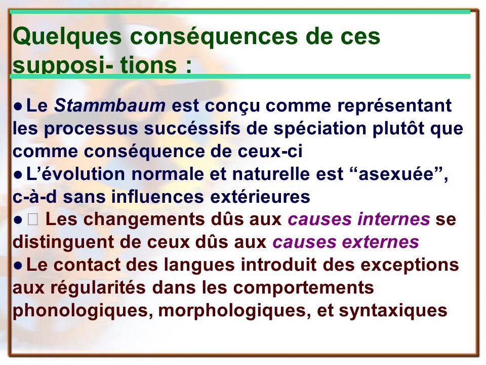 Quelques conséquences de ces supposi- tions : Le Stammbaum est conçu comme représentant les processus succéssifs de spéciation plutôt que comme conséq