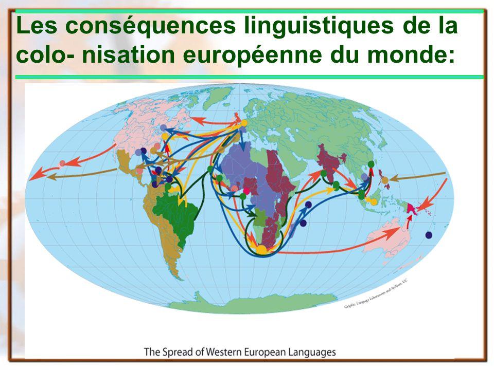 Les conséquences linguistiques de la colo- nisation européenne du monde: