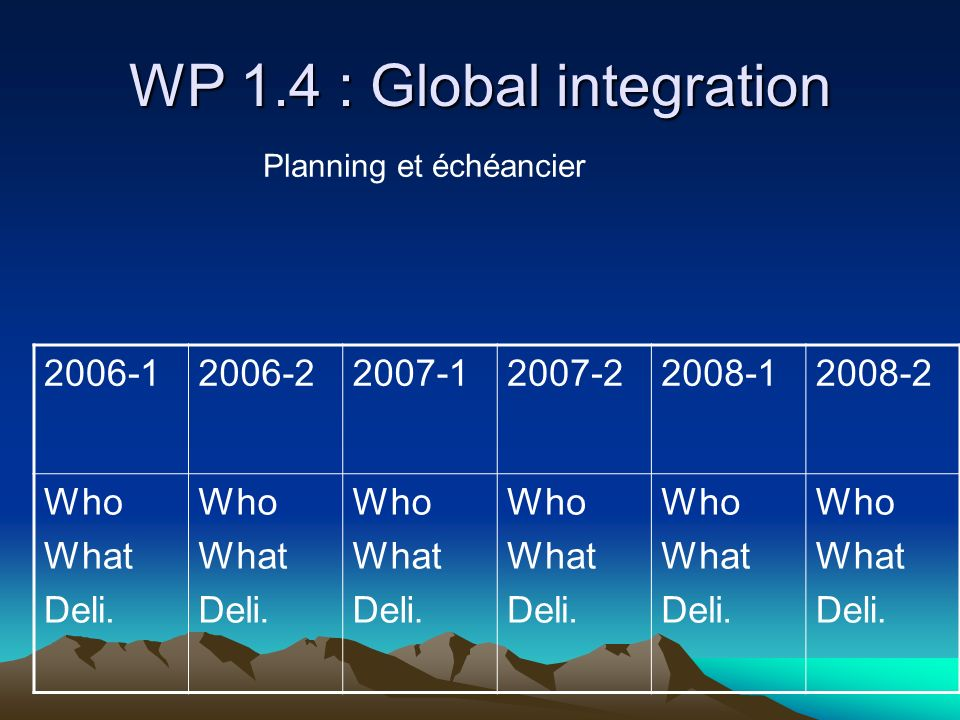 WP 1.4 : Global integration 2006-12006-22007-12007-22008-12008-2 Who What Deli. Who What Deli. Who What Deli. Who What Deli. Who What Deli. Who What D
